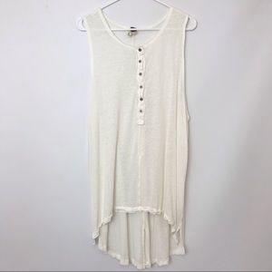FREE PEOPLE | Lightweight Henley Tunic Tank Top L